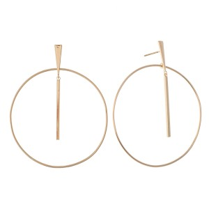 "Brass Bar Nested Drop Earrings in Gold.  - Approximately 2"" in Diameter"