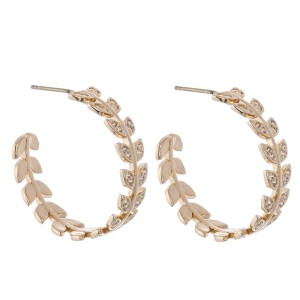 "Brass Cubic Zirconia Leaf Hoop Earrings.  - Approximately 1"" in Diameter"