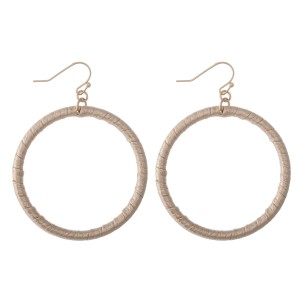 """Faux Leather Wrapped Drop Earrings.  - Approximately 2.5"""" L  - Approximately 2"""" in Diameter"""