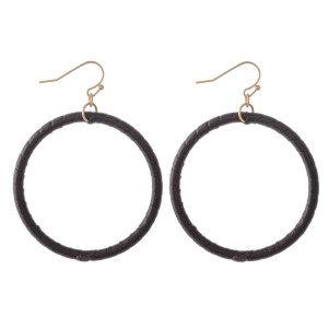 "Faux Leather Wrapped Drop Earrings.  - Approximately 2.5"" L  - Approximately 2"" in Diameter"