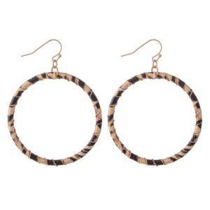 "Faux Leather Leopard Print Wrapped Drop Earrings.  - Approximately 2.5"" L  - Approximately 2"" in Diameter"