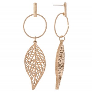 "Wood Laser Cut Leaf Drop Earrings.  - Approximately 3"" L"