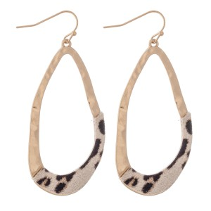 "Hammered Asymmetrical Leopard Print Teardrop Earrings.  - Approximately 2.5"" L"