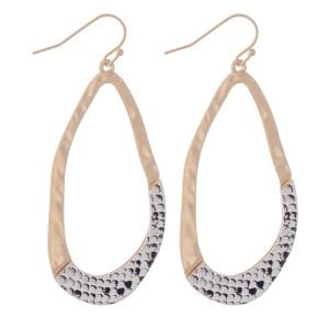 "Hammered Asymmetrical Snakeskin Print Teardrop Earrings.  - Approximately 2.5"" L"