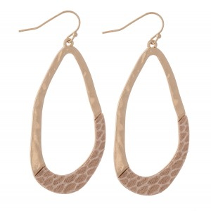 "Hammered Asymmetrical Animal Print Teardrop Earrings.  - Approximately 2.5"" L"