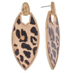 """Metal Encased Leopard Print Drop Earrings in Gold.  - Approximately 2.5"""" L"""