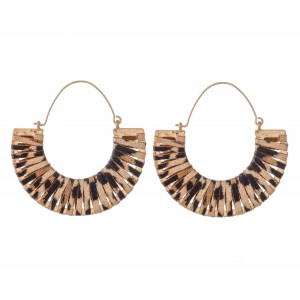 "Faux Leather Leopard Print Wrapped Hoop Earrings.  - Approximately 2"" in Diameter"