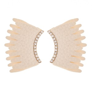 Faux Leather Wing Statement Earrings Featuring Rhinestone Accents.  - Approximately 1.25""