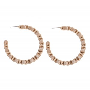 "Faux Leather Animal Print Woven Chain Link Hoop Earrings.  - Approximately 2"" in Diameter"