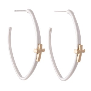 """Two Tone Oval Hoop Earrings Featuring Cross Accent.  - Approximately 2"""" L"""