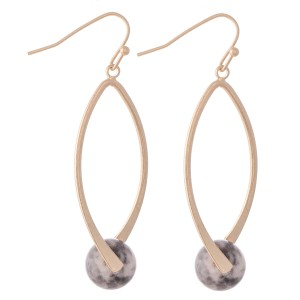 """Semi Precious Ball Drop Earrings.  - Natural Stone Ball Size: 9mm - Approximately 2"""" L"""