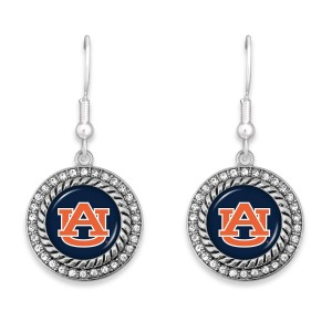 "Auburn Game Day Drop Earrings Featuring Rhinestone Accents.  - Approximately 1.5"" L  - Approximately 1"" in Diameter"