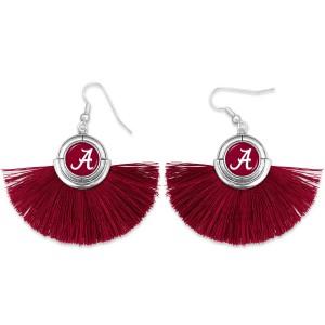 "Alabama Game Day Tassel Drop Earrings.  - Approximately 2"" L x 3"" W"