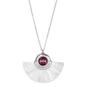 "Mississippi State Game Day Tassel Pendant Necklace.  - Pendant (approx) 2"" L x 3"" T - Approximately 34"" L - 3"" Adjustable Extender"