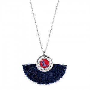 "Ole Miss Game Day Tassel Pendant Necklace.  - Pendant (approx) 2"" L x 3"" T - Approximately 34"" L - 3"" Adjustable Extender"