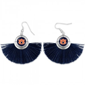 "Auburn Game Day Tassel Drop Earrings.  - Approximately 2"" L x 3"" W"