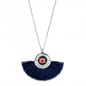 "Auburn Game Day Tassel Pendant Necklace.  - Pendant (approx) 2"" L x 3"" T - Approximately 34"" L - 3"" Adjustable Extender"