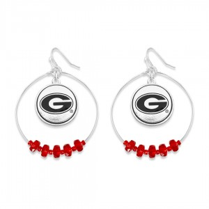 """Georgia Nested Beaded Game Day Drop Earring.  - Approximately 2"""" L  - Approximately 1.75"""" in Diameter"""