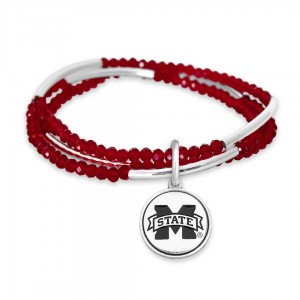 """Mississippi State Beaded Game Day Stretch Bracelet Set.  - Charm .75""""  - Approximately 3"""" in Diameter - Fits up to a 7"""" Wrist"""