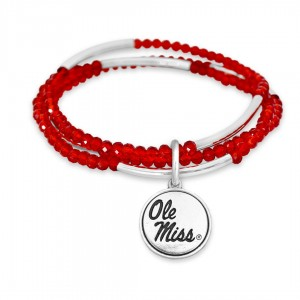 "Ole Miss Beaded Game Day Stretch Bracelet Set.  - Charm .75""  - Approximately 3"" in Diameter - Fits up to a 7"" Wrist"