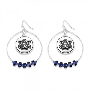 "Auburn Nested Beaded Game Day Drop Earring.  - Approximately 2"" L  - Approximately 1.75"" in Diameter"