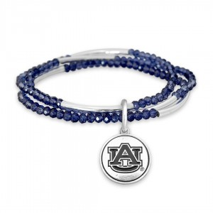 "Auburn Beaded Game Day Stretch Bracelet Set.  - Charm .75""  - Approximately 3"" in Diameter - Fits up to a 7"" Wrist"