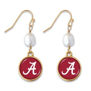 "Alabama Pearl Game Day Drop Earrings.  - Approximately 1.5"" L"