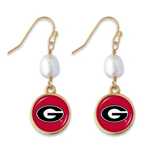 """Georgia Pearl Game Day Drop Earrings.  - Approximately 1.5"""" L"""
