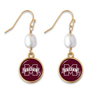 "Mississippi State Pearl Game Day Drop Earrings.  - Approximately 1.5"" L"