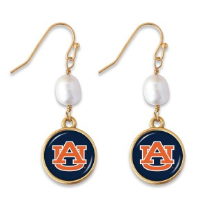 "Auburn Pearl Game Day Drop Earrings.  - Approximately 1.5"" L"