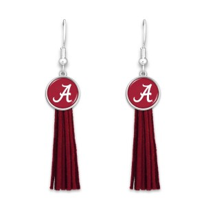 "Alabama Tassel Game Day Drop Earrings.  - Approximately 3"" L"