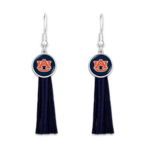 "Auburn Tassel Game Day Drop Earrings.  - Approximately 3"" L"