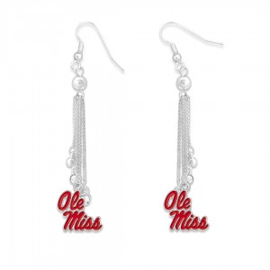 "Ole Miss Chain Beaded Game Day Drop Earrings Featuring Rhinestone Accents.  - Approximately 3"" L"