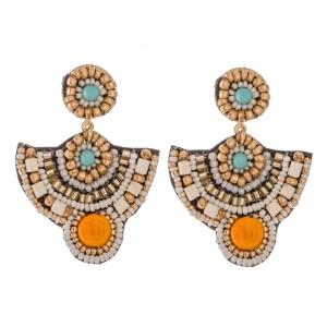 """Multicolor Multi-Beaded Felt Drop Earrings.  - Approximately 2""""  L"""