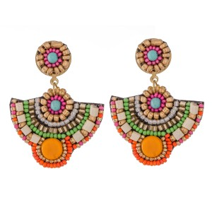 "Multicolor Multi-Beaded Felt Drop Earrings.  - Approximately 2""  L"