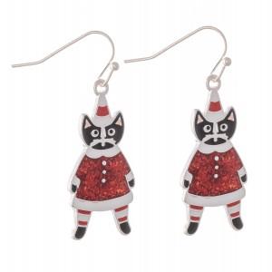 "Enamel Coated Christmas Cat Drop Earrings.  - Approximately 1.25"""