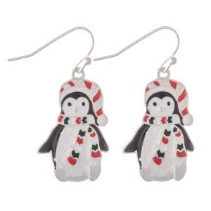 "Enamel Coated Christmas Penguin Drop Earrings.  - Approximately 1.25"""
