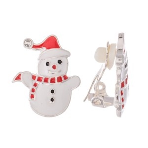 "Enamel Coated Christmas Snowman Clip On Earrings in Silver.  - Approximately .75"" in Size"