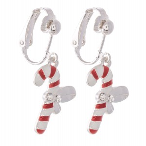 """Enamel Coated Christmas Candy Cane Clip On Earrings in Silver.  - Approximately .75"""" in Size"""