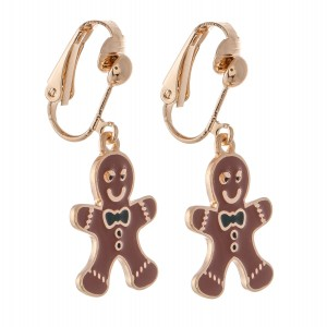 """Enamel Coated Christmas Gingerbread Clip On Earrings in Gold.  - Approximately .75"""" in Size"""