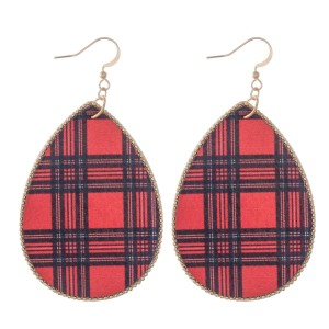 """Faux Leather Christmas Plaid Print Teardrop Earrings.  - Approximately 3"""" L"""
