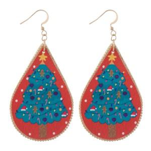"Faux Leather Christmas Print Teardrop Earrings.  - Approximately 3"" L"