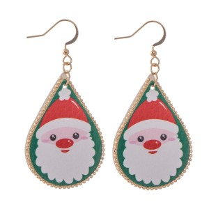 "Faux Leather Christmas Print Teardrop Earrings.  - Approximately 2.25"" L"