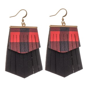 """Faux Leather Buffalo Check Christmas Tassel Drop Earrings.  - Faux Leather  - Approximately 2.5"""" L"""
