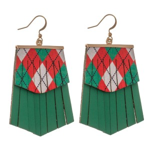 """Faux Leather Argyle Christmas Tassel Drop Earrings.  - Faux Leather  - Approximately 2.5"""" L"""