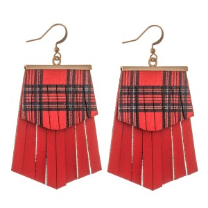 """Faux Leather Plaid Christmas Tassel Drop Earrings.  - Faux Leather  - Approximately 2.5"""" L"""