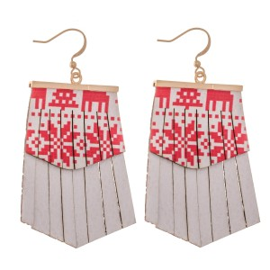 """Faux Leather Christmas Sweater Print Tassel Drop Earrings.  - Faux Leather  - Approximately 2.5"""" L"""