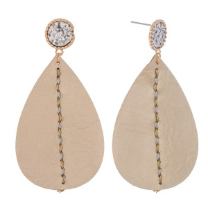 """Two Tone Faux Leather Teardrop Earrings Featuring Glitter and Thread Details.  - Approximately 2.75"""" L"""