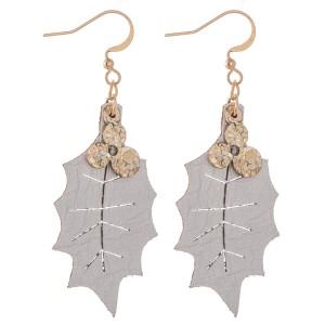 """Two Tone Glitter Christmas Mistletoe Drop Earrings.  - Faux Leather  - Approximately 2"""" L"""