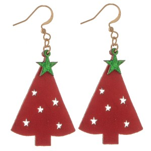"""Two Tone Glitter Christmas Tree Drop Earrings Featuring Star Punch Out Details.  - Faux Leather  - Approximately 2"""" L"""